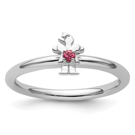 Sterling Silver Stackable Expressions Rhodium Pink Tourmaline Girl Ring