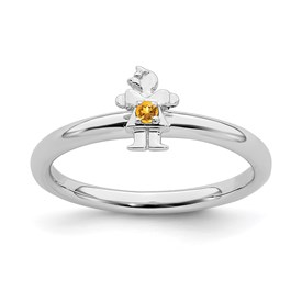 Sterling Silver Stackable Expressions Rhodium Citrine Girl Ring