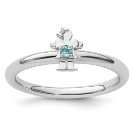 Sterling Silver Stackable Expressions Rhodium Blue Topaz Girl Ring