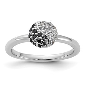Sterling Silver Stackable Expressions Rhodium White Topaz Onyx Ring