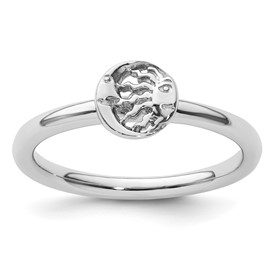 Sterling Silver Stackable Sun and Moon Ring