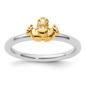 Stackable Expressions Sterling Silver Yellow-plated Claddagh Ring