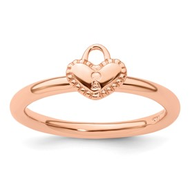 Sterling Silver Stackable Expressions Pink-plated Heart Padlock Ring