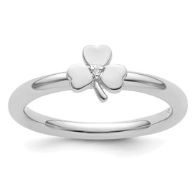Sterling Silver Stackable Expressions Rhodium Diamond Clover Ring