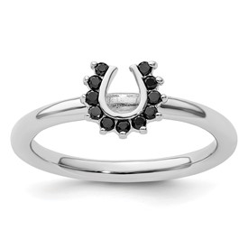 Stackable Expressions Sterling Silver Rhodium Black Diamond Horseshoe Ring