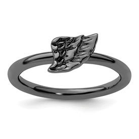 Stackable Expressions Sterling Silver Black-plated Angel Wing Ring
