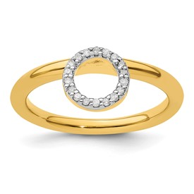 Sterling Silver Stackable Expressions Yellow-plated Halo Dia. Ring