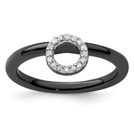 Sterling Silver Stackable Expressions Black-plated Halo Dia. Ring