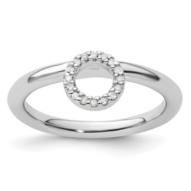 Sterling Silver Stackable Expressions Rhodium Halo Diamond Ring