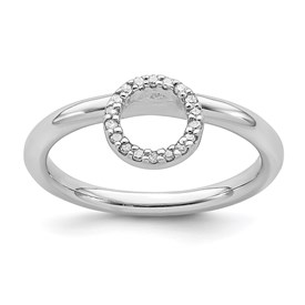 Sterling Silver Stackable Expressions Rhodium Lg. Halo Dia. Ring