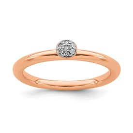Sterling Silver Stackable Expressions Pink-plated Diamond Ring