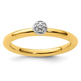 Sterling Silver Stackable Expressions Yellow-plated Diamond Ring