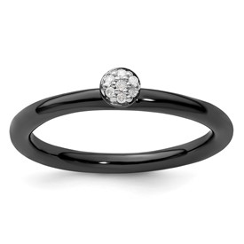 Sterling Silver Stackable Expressions Black-plated Diamond Ring