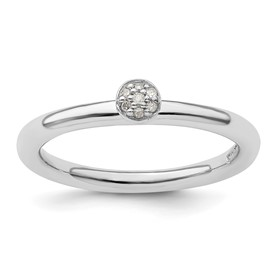 Sterling Silver Stackable Expressions Rhodium Diamond Ring