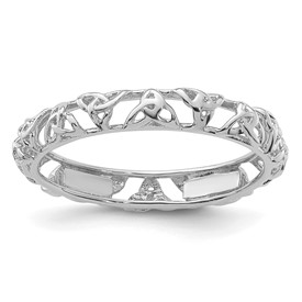Sterling Silver Stackable Expressions Rhodium Celtic Knot Ring