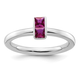 Sterling Silver Stackable Expressions Created Ruby Ring