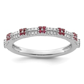 Sterling Silver Stackable Expressions Created Ruby and Diamond Ring