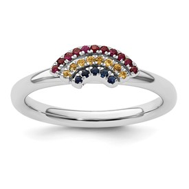 Stackable Expressions Sterling Silver Rainbow Ring