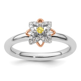 SS Stackable Expressions Rose-Plated Flower Citrine and Dia. Ring