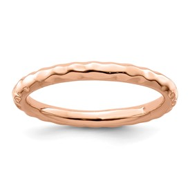 Stackable Expressions Sterling Silver Pink-plated Hammered Ring