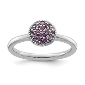 Stackable Expressions Sterling Silver Amethyst Rhodium Ring