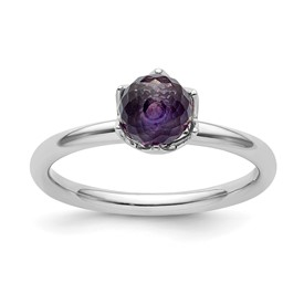 Stackable Expressions Sterling Silver Amethyst Briolette Ring