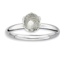 Stackable Expressions Sterling Silver White Topaz Briolette Ring