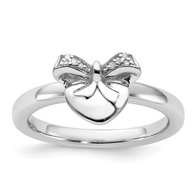 Stackable Expressions Sterling Silver Heart with Bow Diamond Ring