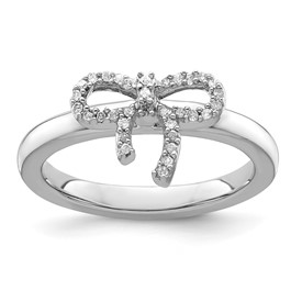 Stackable Expressions Sterling Silver Bow Diamond Ring