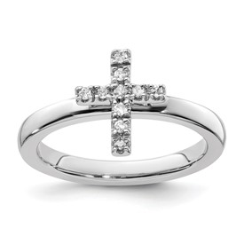 Stackable Expressions Sterling Silver Cross Diamond Ring