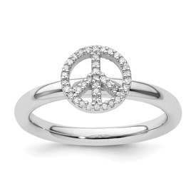 Stackable Expressions Sterling Silver Peace Symbol Diamond Ring