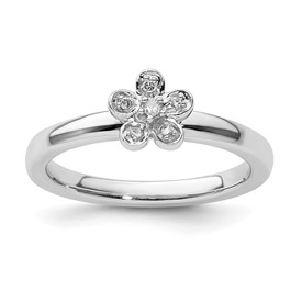 Stackable Expressions Sterling Silver Flower Diamond Ring