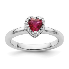 Stackable Expressions Sterling Silver Created Ruby Heart Diamond Ring