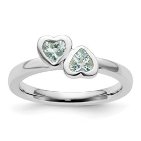 Stackable Expressions Sterling Silver Aquamarine Double Heart Ring