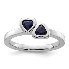 Stackable Expressions Sterling Silver Created Sapphire Double Heart Ring