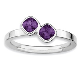 Stackable Expressions Sterling Silver Two Stone Amethyst Ring