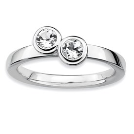 Stackable Expressions Sterling Silver Double Round White Topaz Ring
