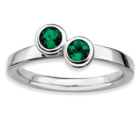Stackable Expressions Sterling Silver Double Round Created Emerald Ring