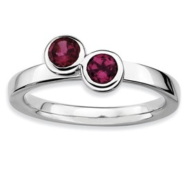 Stackable Expressions Sterling Silver Double Round Rhodolite Garnet Ring