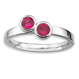 Stackable Expressions Sterling Silver Double Round Created Ruby Ring