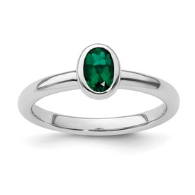 Stackable Expressions Sterling Silver Oval Created Emerald Ring