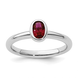 Stackable Expressions Sterling Silver Oval Created Ruby Ring
