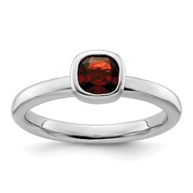 Stackable Expressions Sterling Silver Cushion Cut Garnet Ring