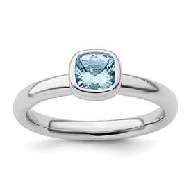 Stackable Expressions Sterling Silver Cushion Cut Aquamarine Ring