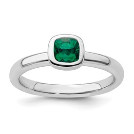 Stackable Expressions Sterling Silver Cushion Cut Created Emerald Ring