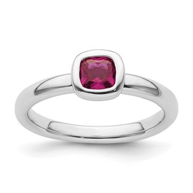 Stackable Expressions Sterling Silver Cushion Cut Created Ruby Ring