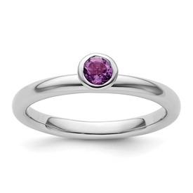 Stackable Expressions Sterling Silver High Profile 4mm Round Amethyst Ring