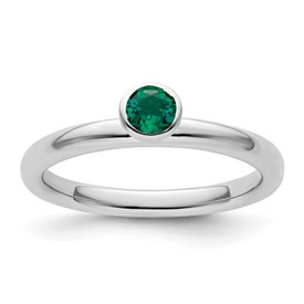 Stackable Expressions Sterling Silver High Profile 4mm Round Created Emerald Ring