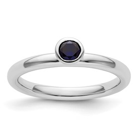 Stackable Expressions Sterling Silver High Profile 4mm Round Created Sapphire Ring