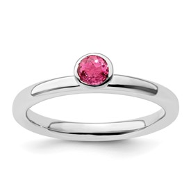 Stackable Expressions Sterling Silver High Profile 4mm Round Pink Tourmaline Ring